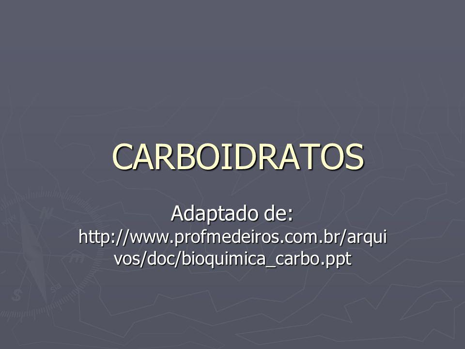 CARBOIDRATOS Adaptado de: http://www.profmedeiros.com.br/arquivos/doc/bioquimica_carbo.ppt