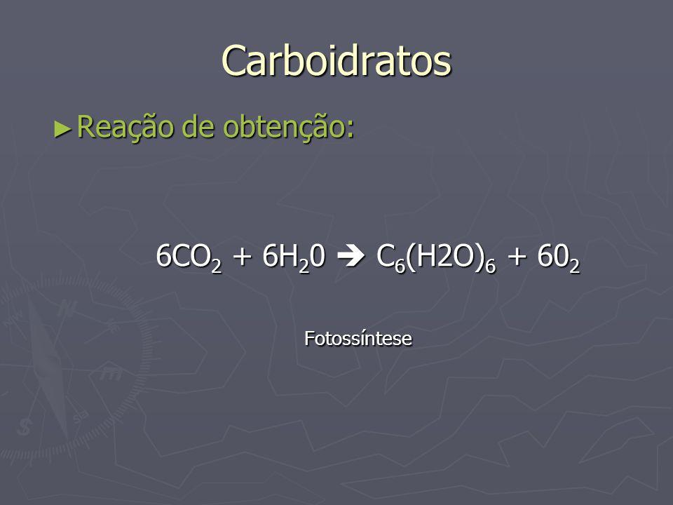 Carboidratos Reação de obtenção: 6CO2 + 6H20  C6(H2O)6 + 602