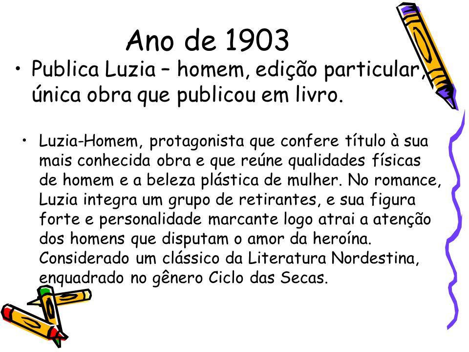 Ano de 1903 Publica Luzia – homem, edição particular, única obra que publicou em livro.
