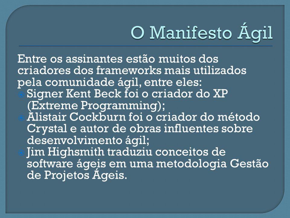 O Manifesto Ágil Entre os assinantes estão muitos dos criadores dos frameworks mais utilizados pela comunidade ágil, entre eles: