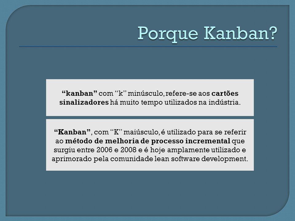 Porque Kanban kanban com k minúsculo, refere-se aos cartões sinalizadores há muito tempo utilizados na indústria.
