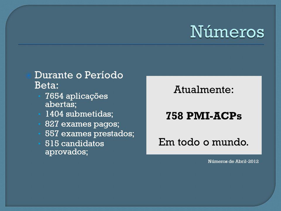 Números Atualmente: 758 PMI-ACPs Em todo o mundo.