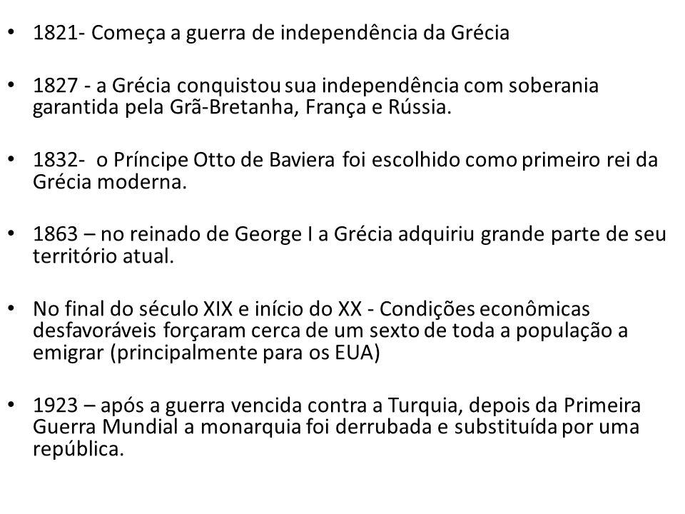 1821- Começa a guerra de independência da Grécia