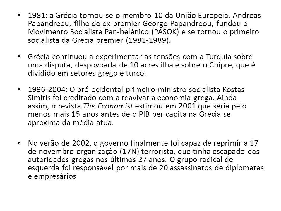 1981: a Grécia tornou-se o membro 10 da União Europeia