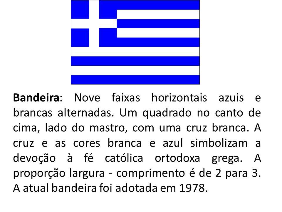 Bandeira: Nove faixas horizontais azuis e brancas alternadas