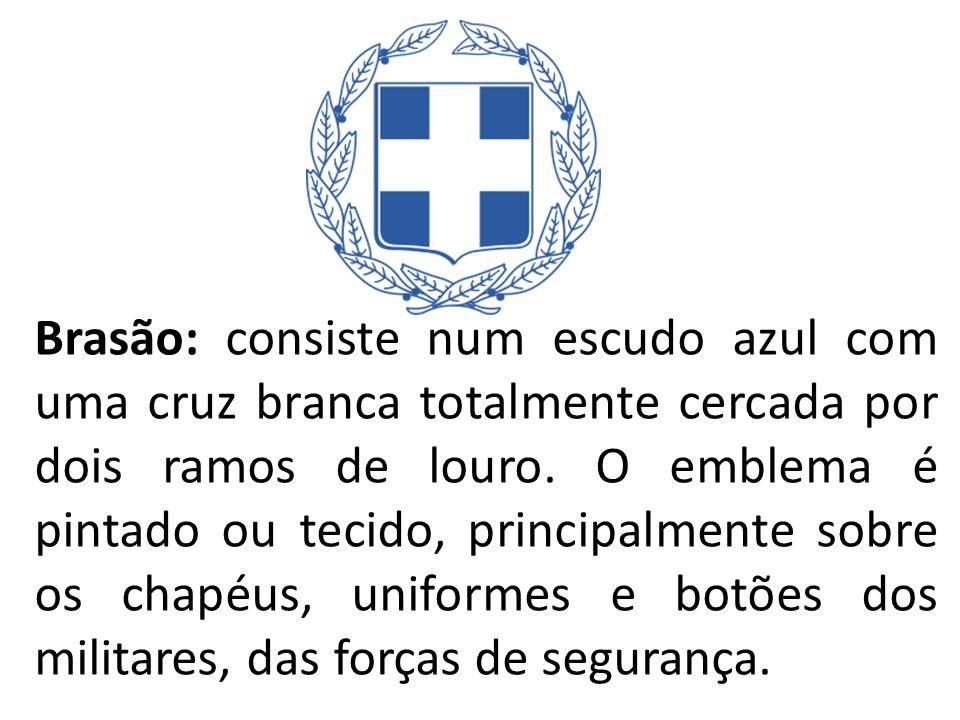 Brasão: consiste num escudo azul com uma cruz branca totalmente cercada por dois ramos de louro.
