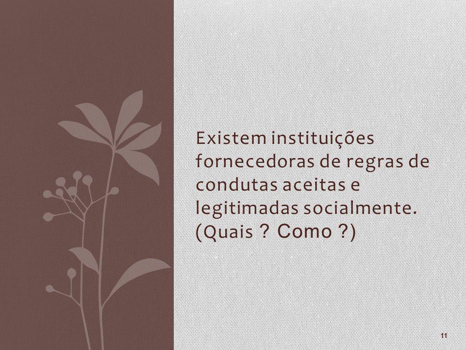 Existem instituições fornecedoras de regras de condutas aceitas e legitimadas socialmente.