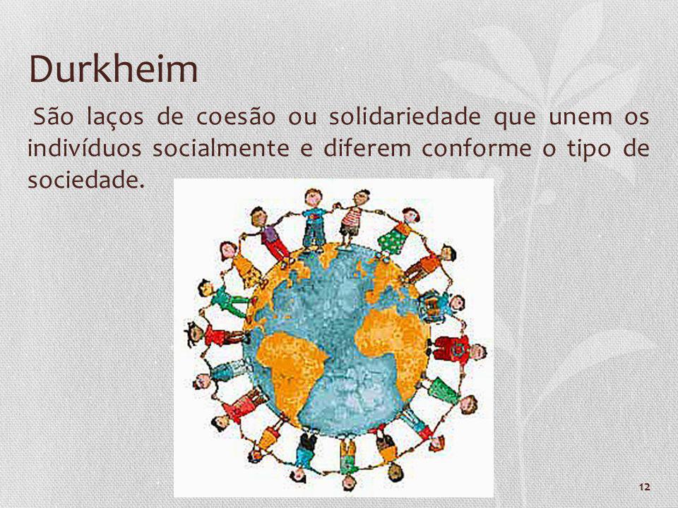 Durkheim São laços de coesão ou solidariedade que unem os indivíduos socialmente e diferem conforme o tipo de sociedade.