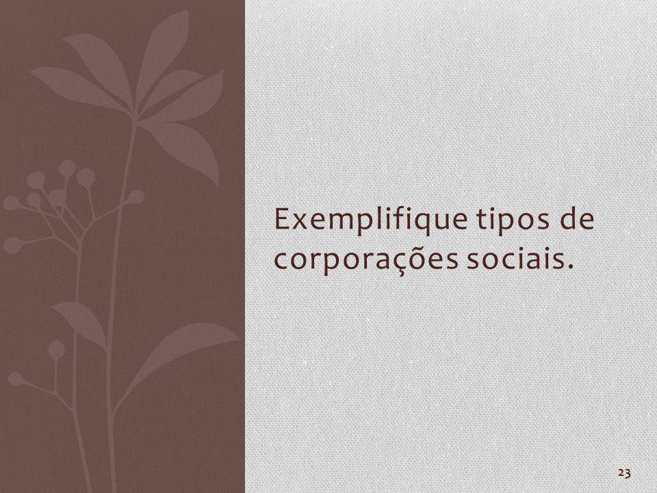 Exemplifique tipos de corporações sociais.