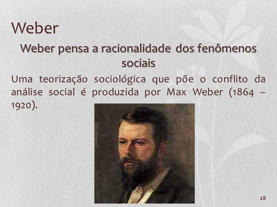 Weber pensa a racionalidade dos fenômenos sociais