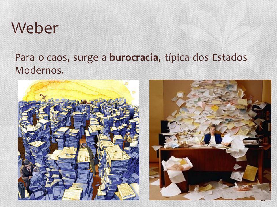 Weber Para o caos, surge a burocracia, típica dos Estados Modernos.