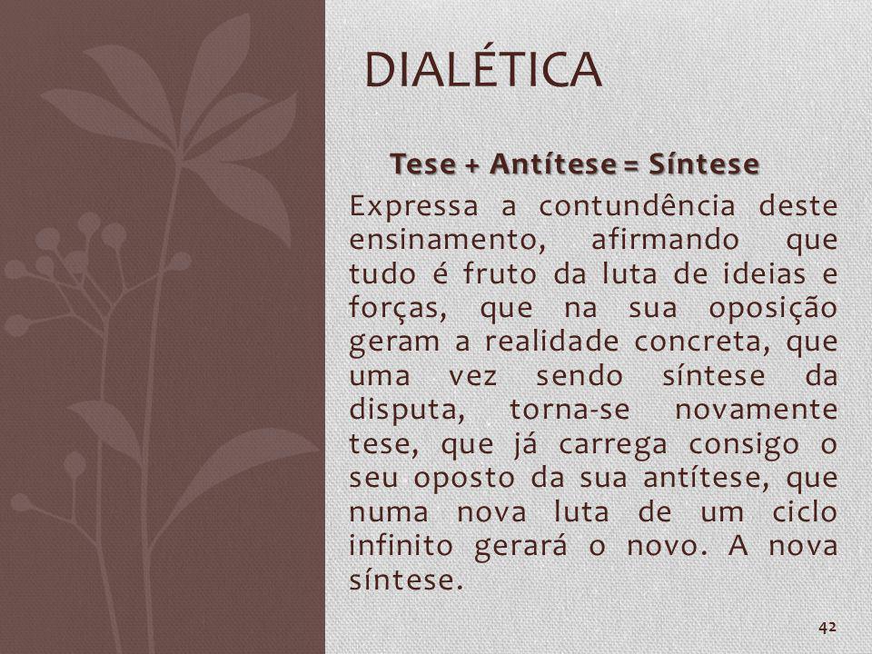 DIALÉTICA Tese + Antítese = Síntese