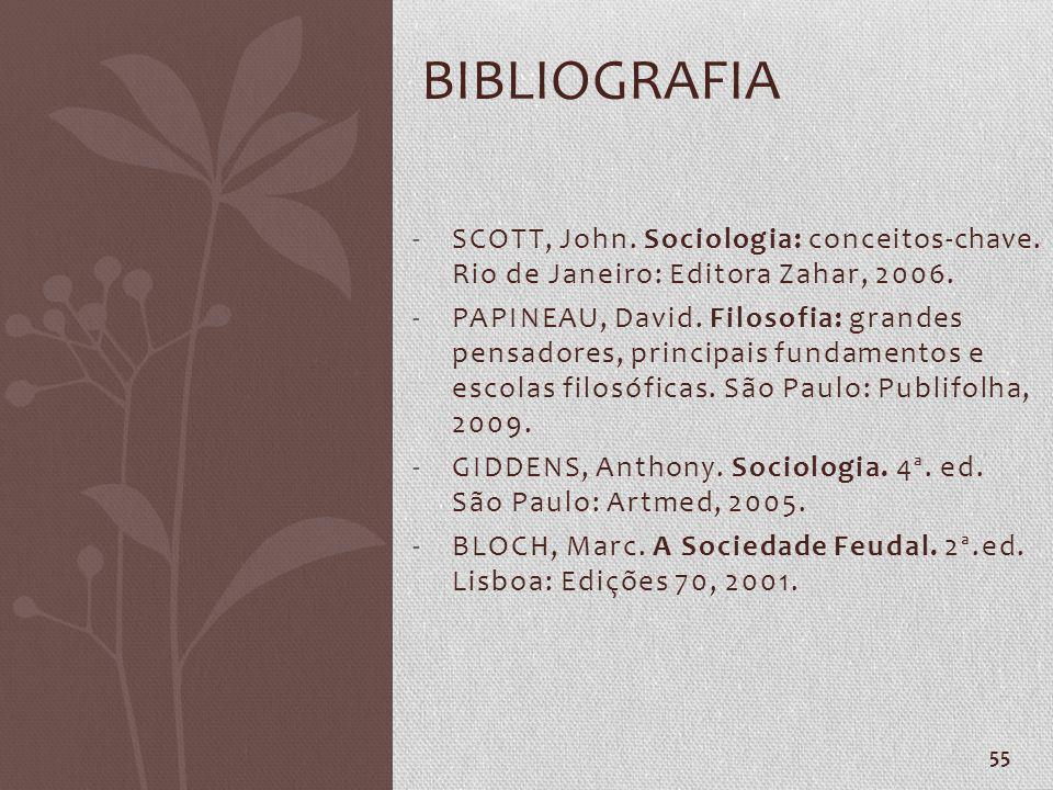 Bibliografia SCOTT, John. Sociologia: conceitos-chave. Rio de Janeiro: Editora Zahar, 2006.