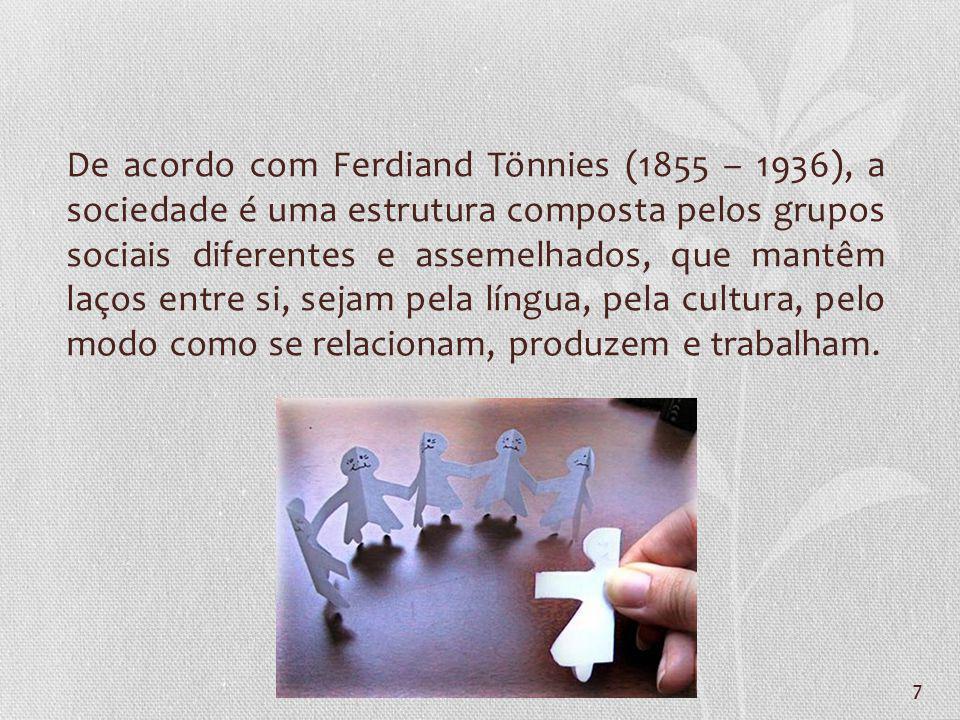 De acordo com Ferdiand Tönnies (1855 – 1936), a sociedade é uma estrutura composta pelos grupos sociais diferentes e assemelhados, que mantêm laços entre si, sejam pela língua, pela cultura, pelo modo como se relacionam, produzem e trabalham.