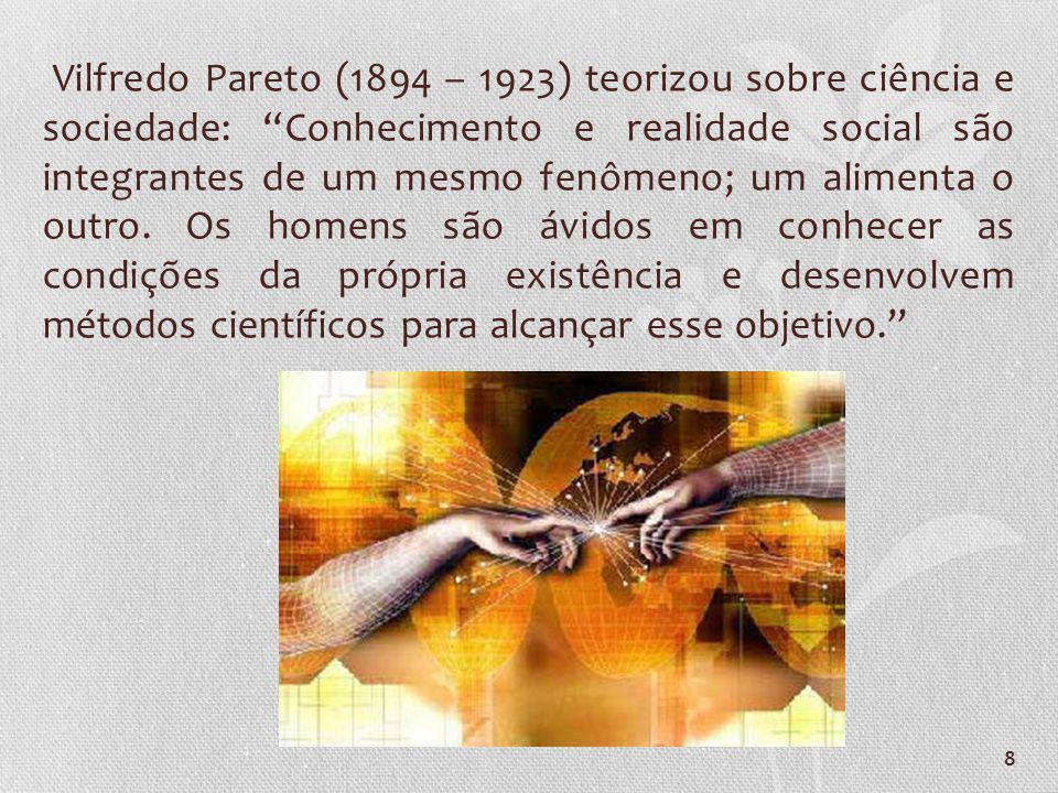 Vilfredo Pareto (1894 – 1923) teorizou sobre ciência e sociedade: Conhecimento e realidade social são integrantes de um mesmo fenômeno; um alimenta o outro.