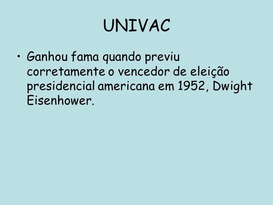 UNIVAC Ganhou fama quando previu corretamente o vencedor de eleição presidencial americana em 1952, Dwight Eisenhower.
