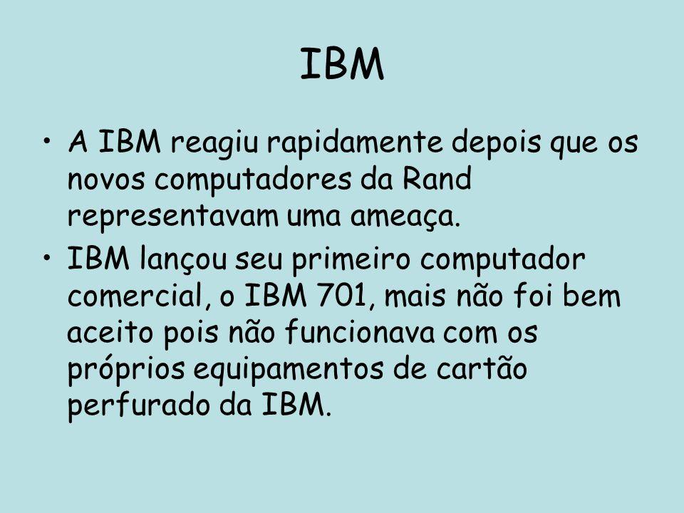 IBM A IBM reagiu rapidamente depois que os novos computadores da Rand representavam uma ameaça.