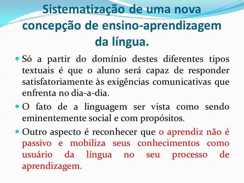 Sistematização de uma nova concepção de ensino-aprendizagem da língua.