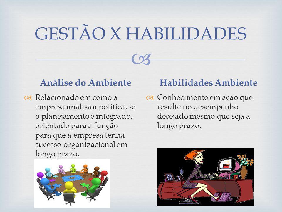 GESTÃO X HABILIDADES Análise do Ambiente Habilidades Ambiente