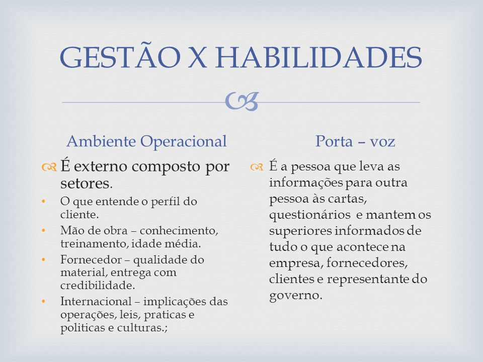 GESTÃO X HABILIDADES Ambiente Operacional Porta – voz