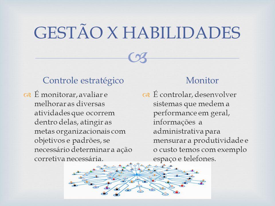 GESTÃO X HABILIDADES Controle estratégico Monitor