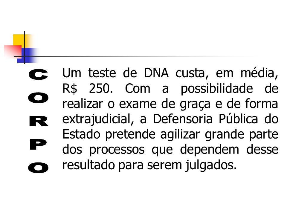 Um teste de DNA custa, em média, R$ 250