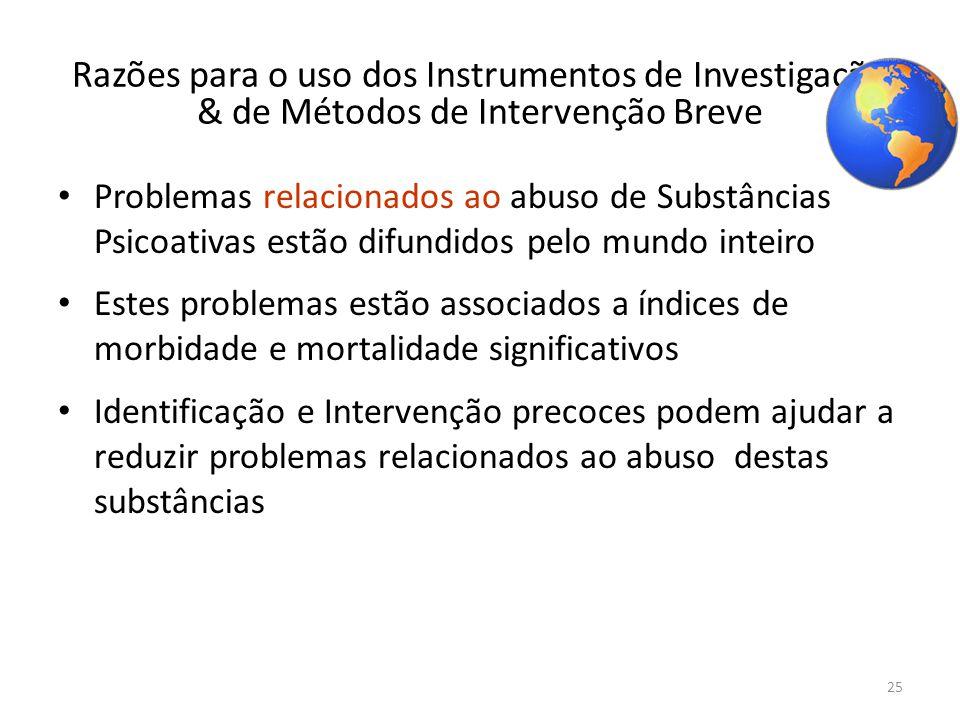 Razões para o uso dos Instrumentos de Investigação & de Métodos de Intervenção Breve