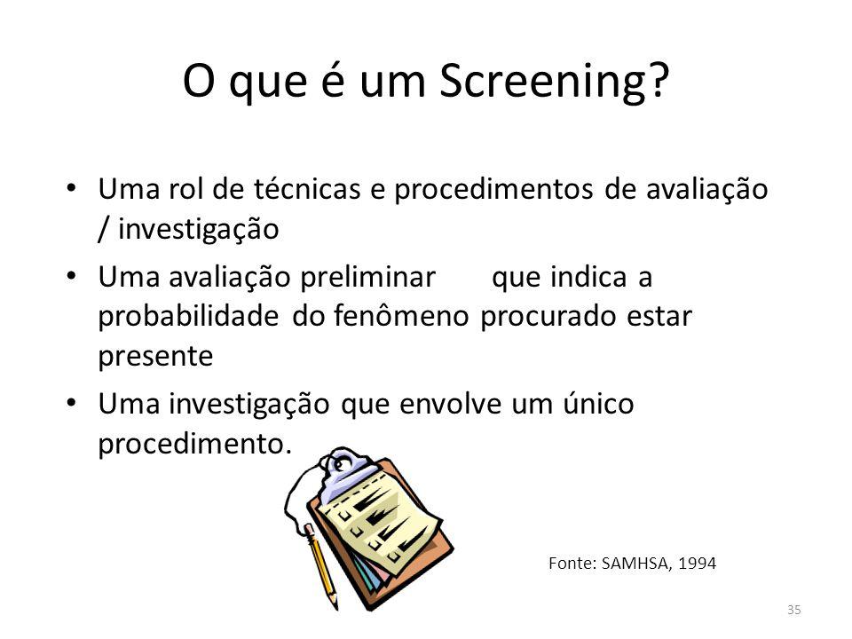 O que é um Screening Uma rol de técnicas e procedimentos de avaliação / investigação.