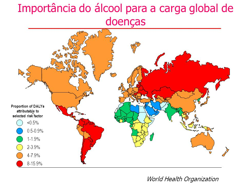 Importância do álcool para a carga global de doenças