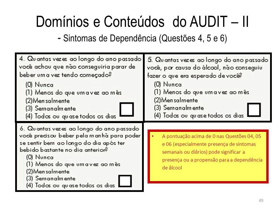Domínios e Conteúdos do AUDIT – II - Sintomas de Dependência (Questões 4, 5 e 6)