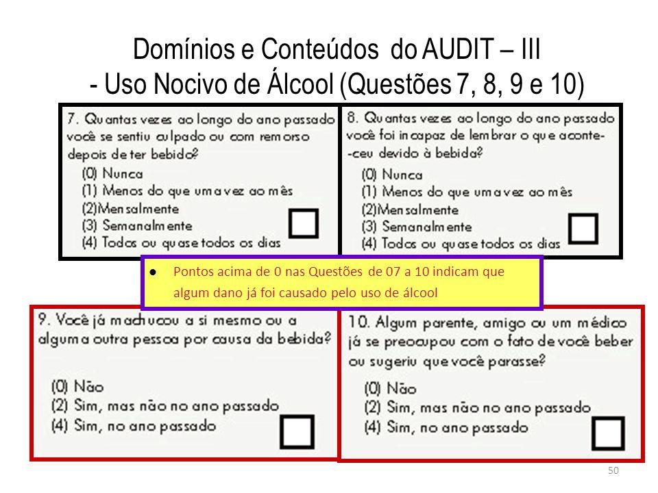 Domínios e Conteúdos do AUDIT – III - Uso Nocivo de Álcool (Questões 7, 8, 9 e 10)