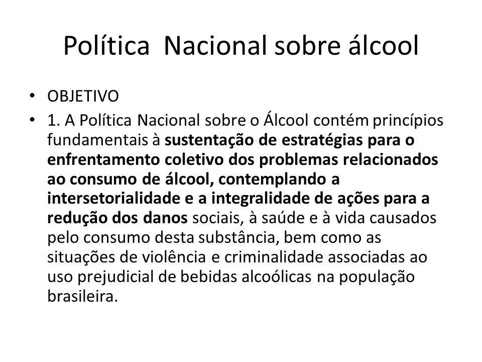 Política Nacional sobre álcool