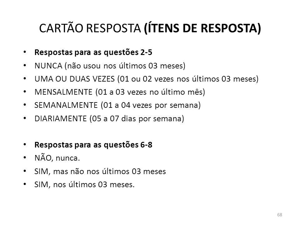 CARTÃO RESPOSTA (ÍTENS DE RESPOSTA)