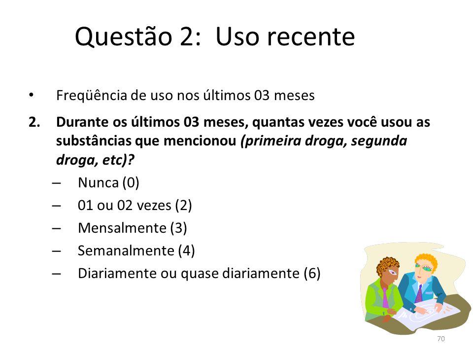 Questão 2: Uso recente Freqüência de uso nos últimos 03 meses