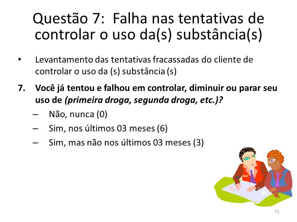 Questão 7: Falha nas tentativas de controlar o uso da(s) substância(s)