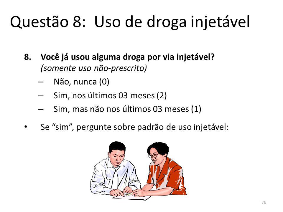 Questão 8: Uso de droga injetável