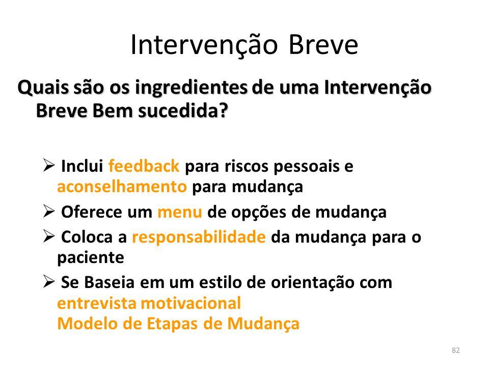 Intervenção Breve Quais são os ingredientes de uma Intervenção Breve Bem sucedida