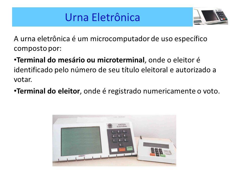 Urna Eletrônica A urna eletrônica é um microcomputador de uso específico composto por: