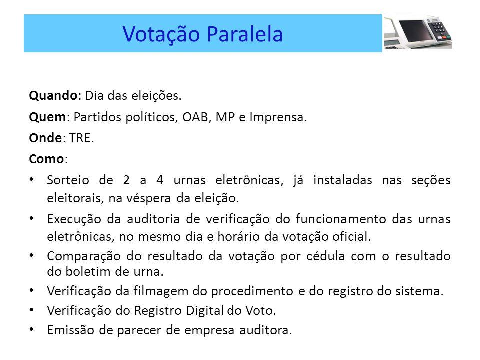 Votação Paralela Quando: Dia das eleições.