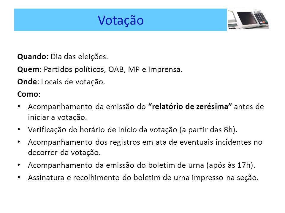 Votação Quando: Dia das eleições.