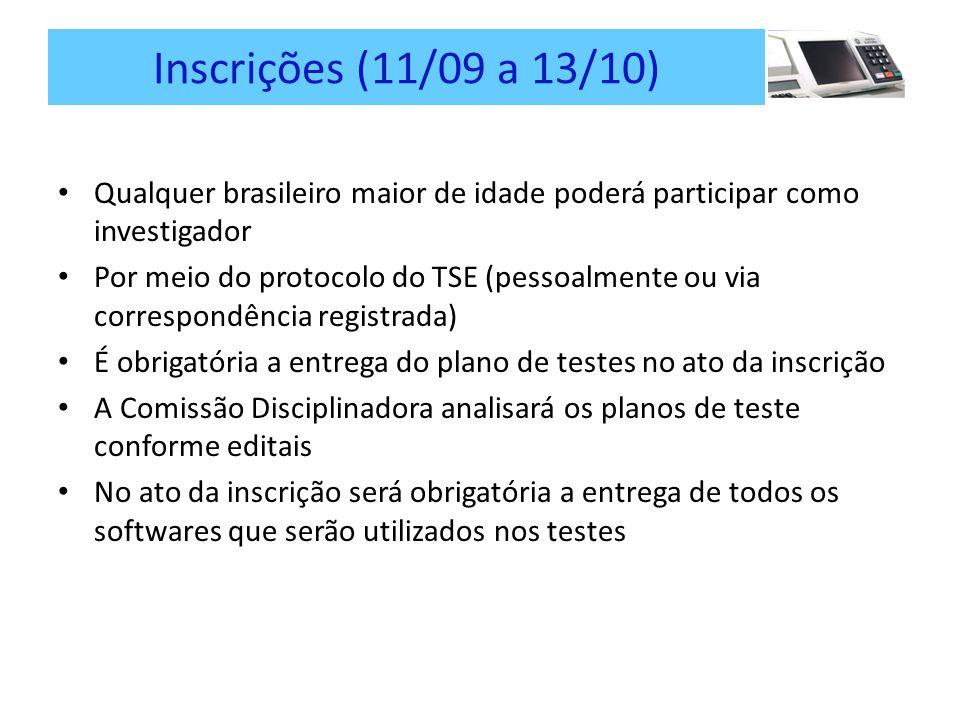 Inscrições (11/09 a 13/10) Qualquer brasileiro maior de idade poderá participar como investigador.