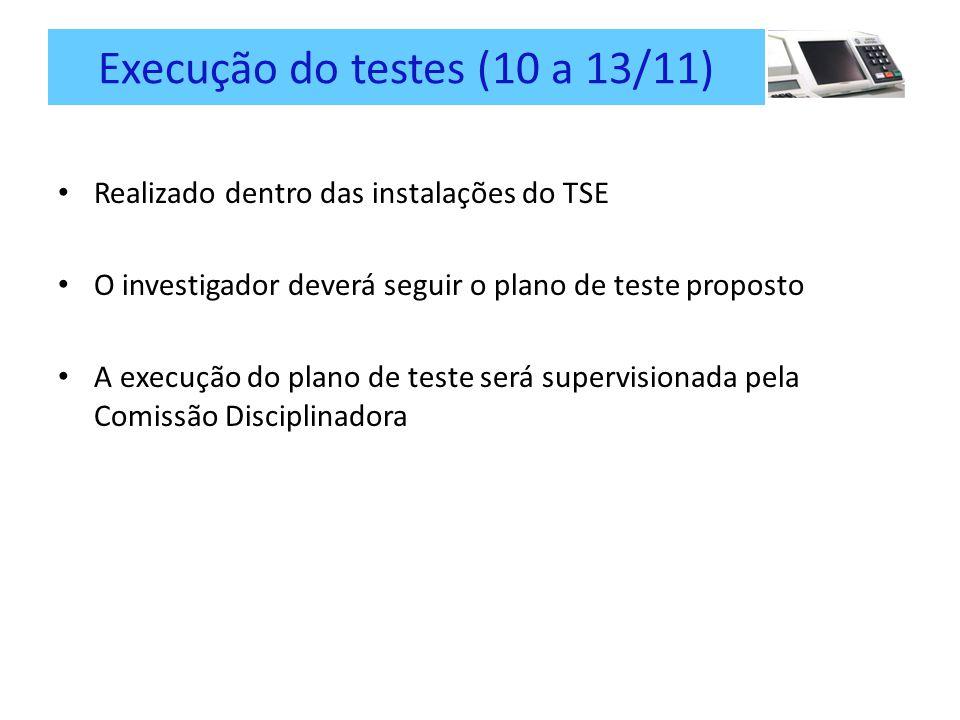 Execução do testes (10 a 13/11)