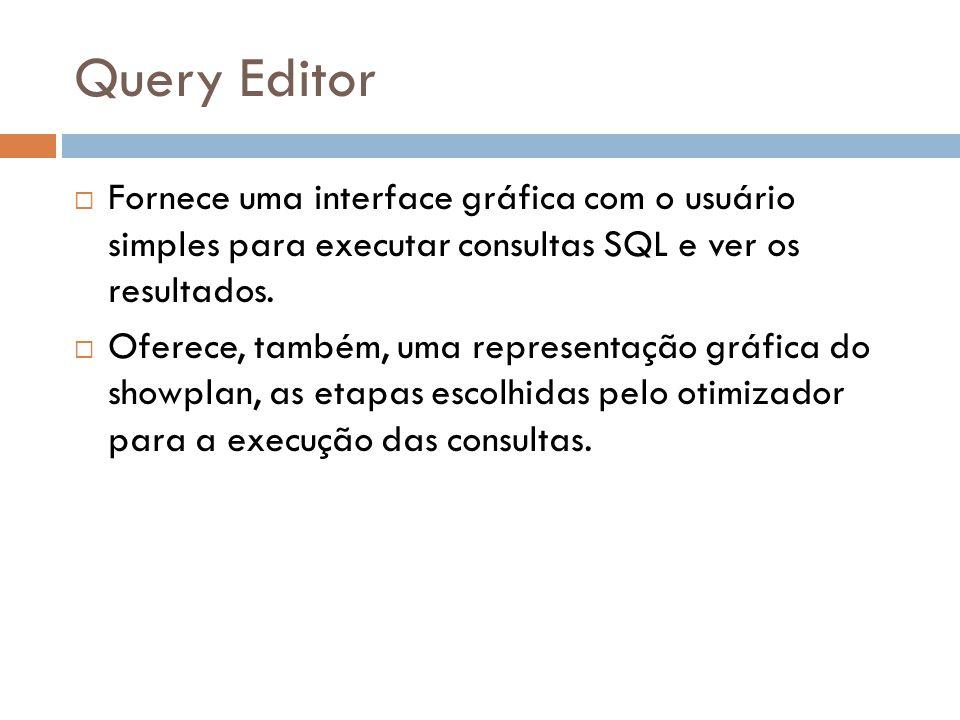 Query Editor Fornece uma interface gráfica com o usuário simples para executar consultas SQL e ver os resultados.