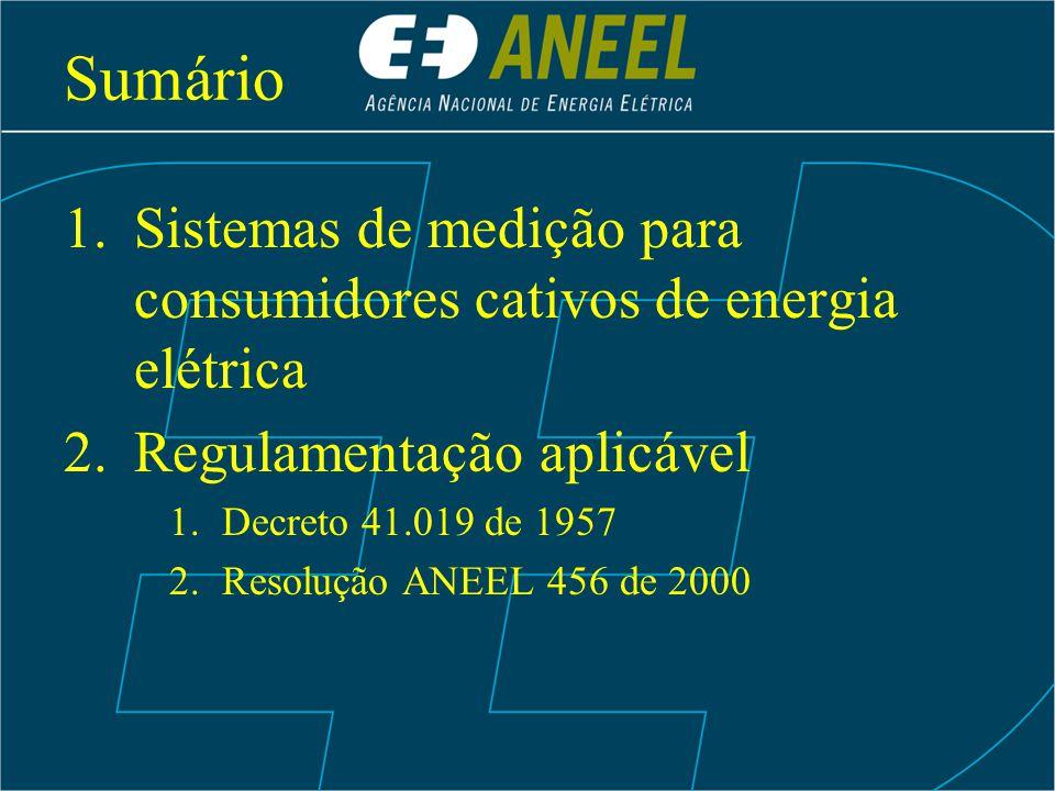 Sumário Sistemas de medição para consumidores cativos de energia elétrica. Regulamentação aplicável.