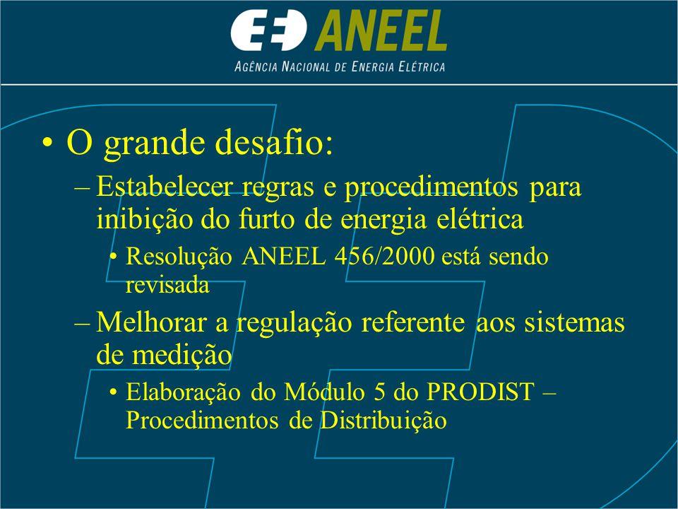 O grande desafio: Estabelecer regras e procedimentos para inibição do furto de energia elétrica. Resolução ANEEL 456/2000 está sendo revisada.
