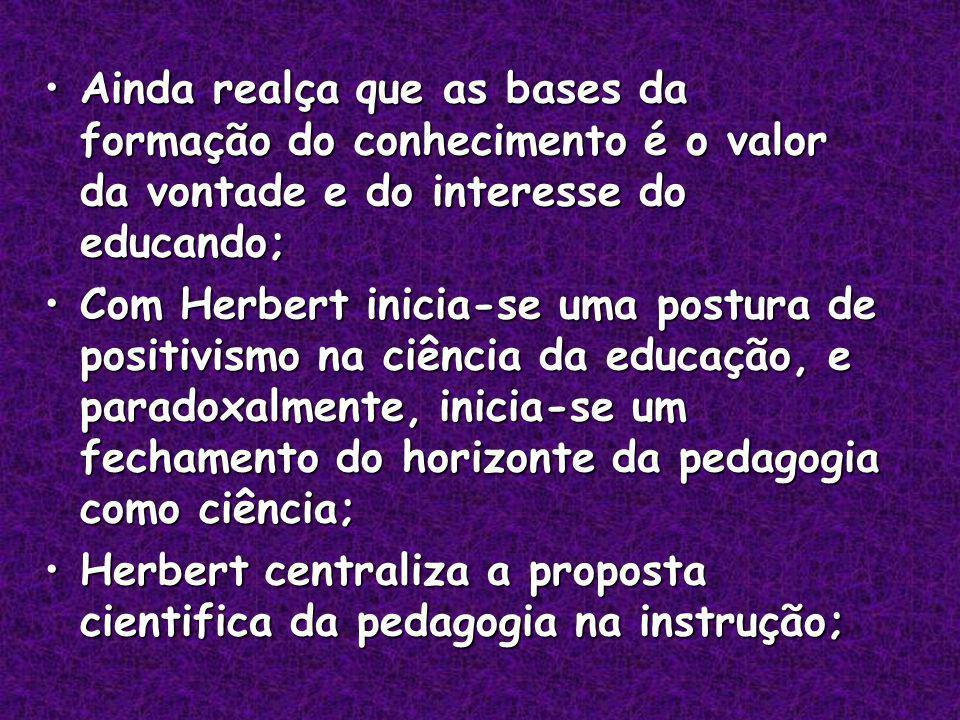 Ainda realça que as bases da formação do conhecimento é o valor da vontade e do interesse do educando;