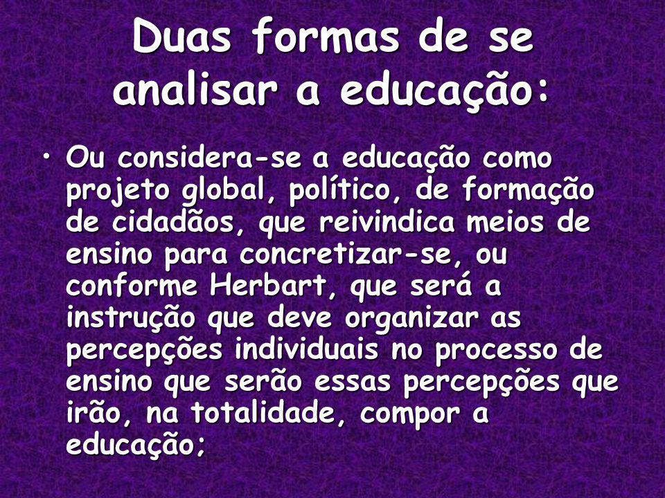 Duas formas de se analisar a educação: