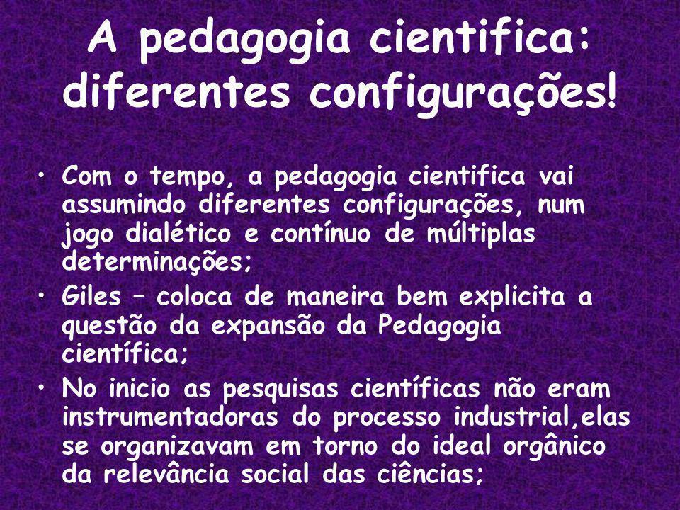 A pedagogia cientifica: diferentes configurações!