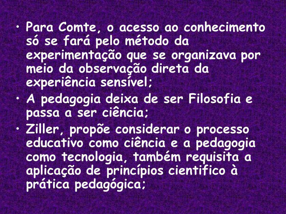 Para Comte, o acesso ao conhecimento só se fará pelo método da experimentação que se organizava por meio da observação direta da experiência sensível;