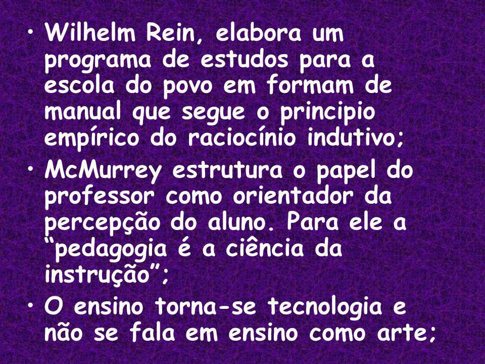 Wilhelm Rein, elabora um programa de estudos para a escola do povo em formam de manual que segue o principio empírico do raciocínio indutivo;